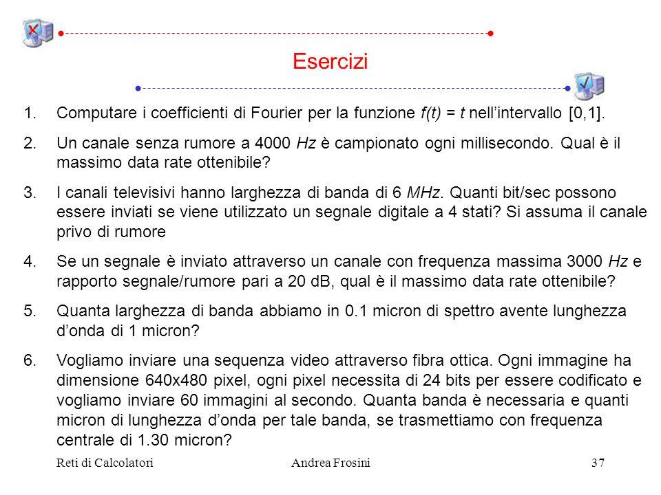Reti di CalcolatoriAndrea Frosini37 Esercizi 1.Computare i coefficienti di Fourier per la funzione f(t) = t nellintervallo [0,1]. 2.Un canale senza ru