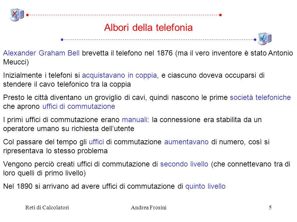Reti di CalcolatoriAndrea Frosini5 Albori della telefonia Alexander Graham Bell brevetta il telefono nel 1876 (ma il vero inventore è stato Antonio Me