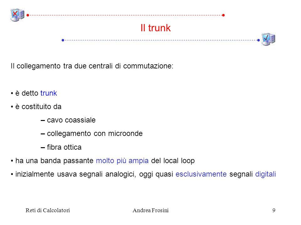 Reti di CalcolatoriAndrea Frosini9 Il trunk Il collegamento tra due centrali di commutazione: è detto trunk è costituito da – cavo coassiale – collega