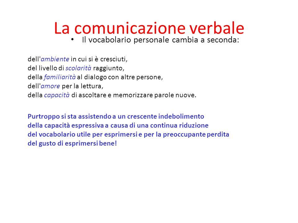 La comunicazione verbale L'elemento costitutivo della comunicazione verbale è il vocabolario linguistico. Attraverso questo canale si comunica una gra