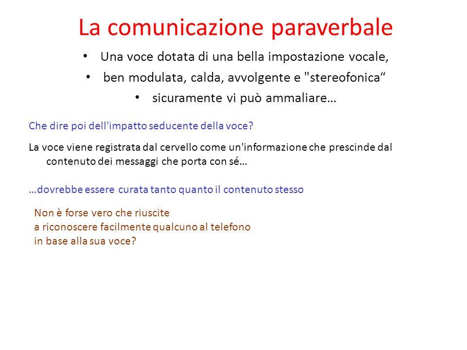 La comunicazione paraverbale Usare le parole senza la voce è ovviamente impossibile. Per questa ragione è stata data la definizione di paraverbale all