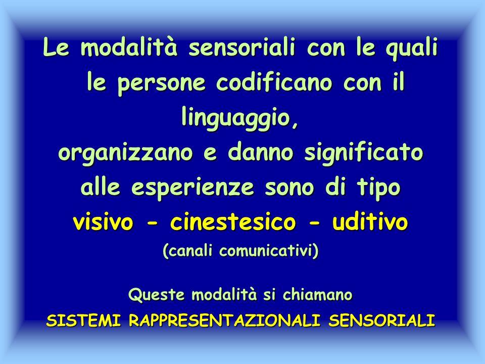 Le modalità sensoriali con le quali le persone codificano con il linguaggio, organizzano e danno significato alle esperienze sono di tipo visivo - cin