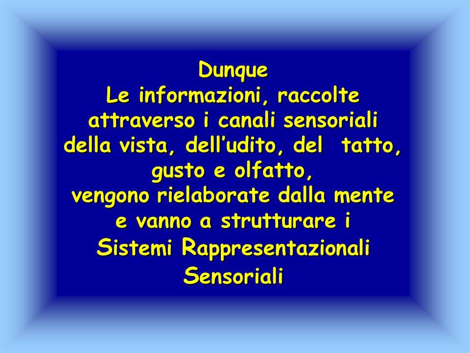 Dunque Le informazioni, raccolte attraverso i canali sensoriali della vista, delludito, del tatto, gusto e olfatto, vengono rielaborate dalla mente e