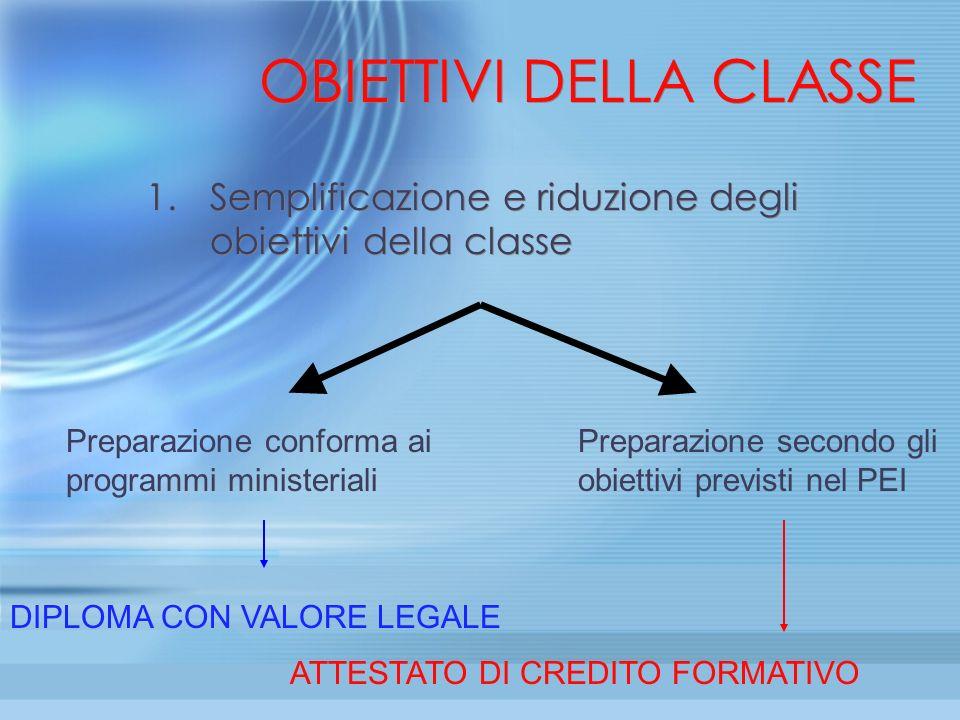OBIETTIVI DELLA CLASSE 1.Semplificazione e riduzione degli obiettivi della classe Preparazione conforma ai programmi ministeriali Preparazione secondo