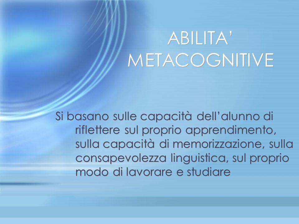 ABILITA METACOGNITIVE Si basano sulle capacità dellalunno di riflettere sul proprio apprendimento, sulla capacità di memorizzazione, sulla consapevole