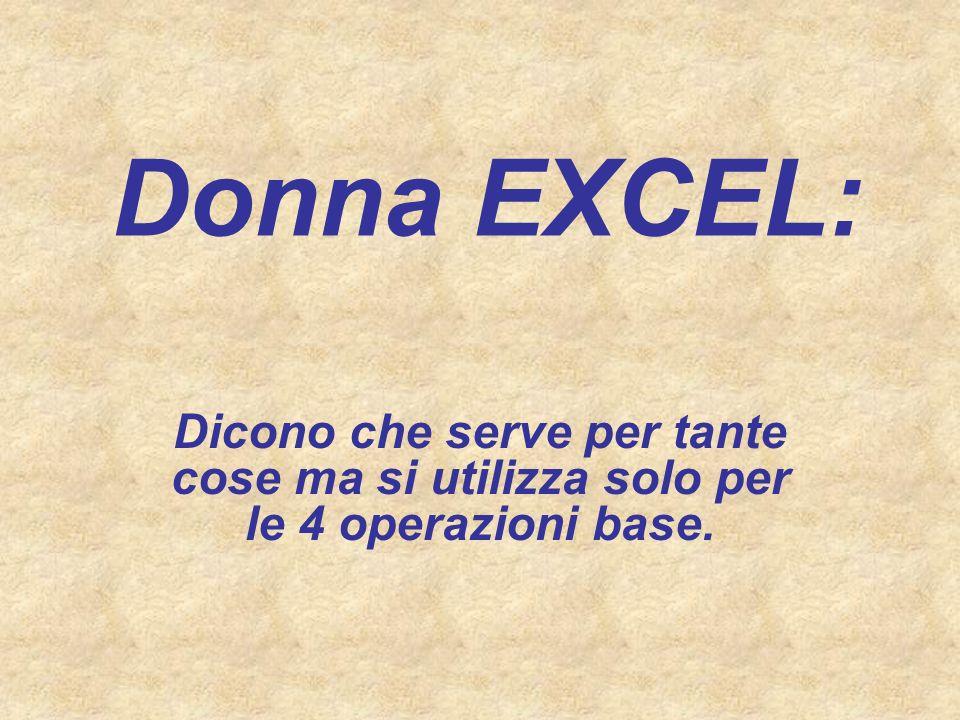 Donna EXCEL: Dicono che serve per tante cose ma si utilizza solo per le 4 operazioni base.