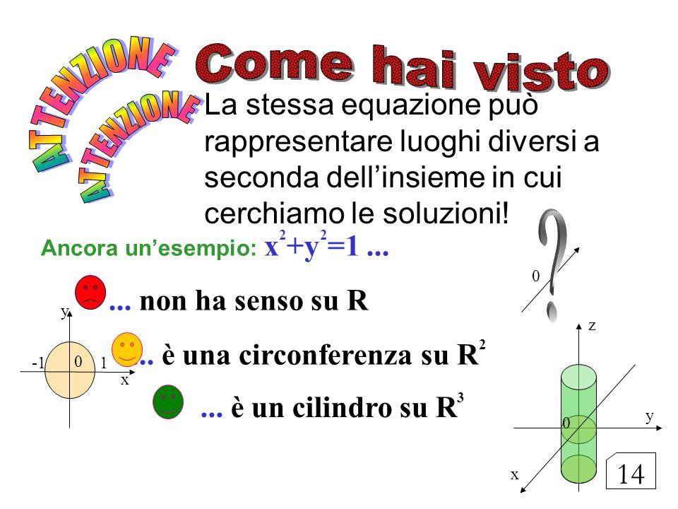La stessa equazione può rappresentare luoghi diversi a seconda dellinsieme in cui cerchiamo le soluzioni! Ancora unesempio: x 2 +y 2 =1...... non ha s