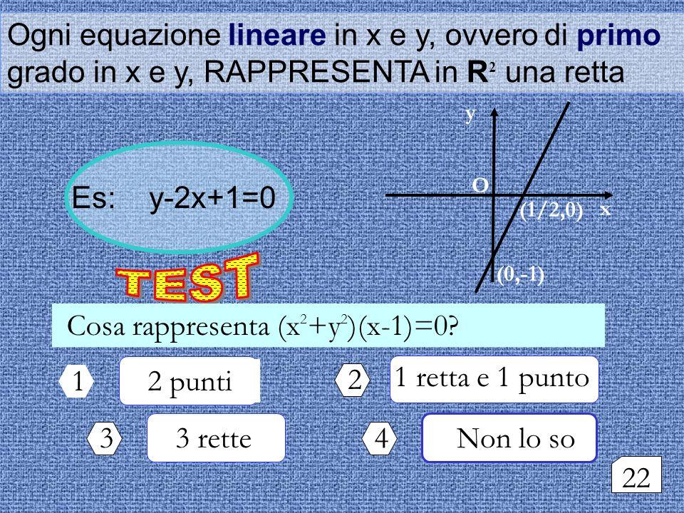 1 retta e 1 punto Ogni equazione lineare in x e y, ovvero di primo grado in x e y, RAPPRESENTA in R 2 una retta Es: y-2x+1=0 Cosa rappresenta (x 2 +y