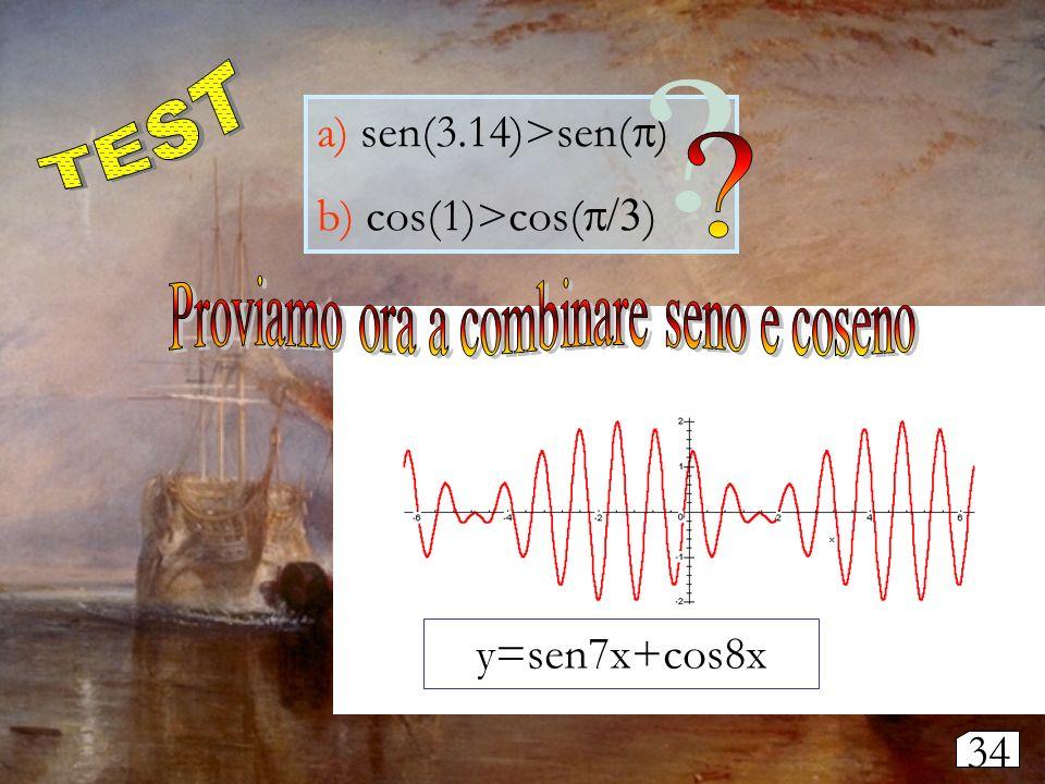 a) sen(3.14)>sen( ) b) cos(1)>cos( ) y=sen7x+cos8x 34