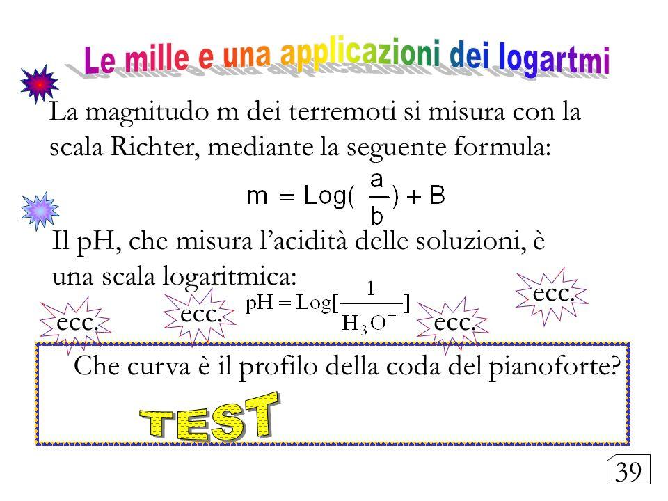 La magnitudo m dei terremoti si misura con la scala Richter, mediante la seguente formula: Il pH, che misura lacidità delle soluzioni, è una scala log