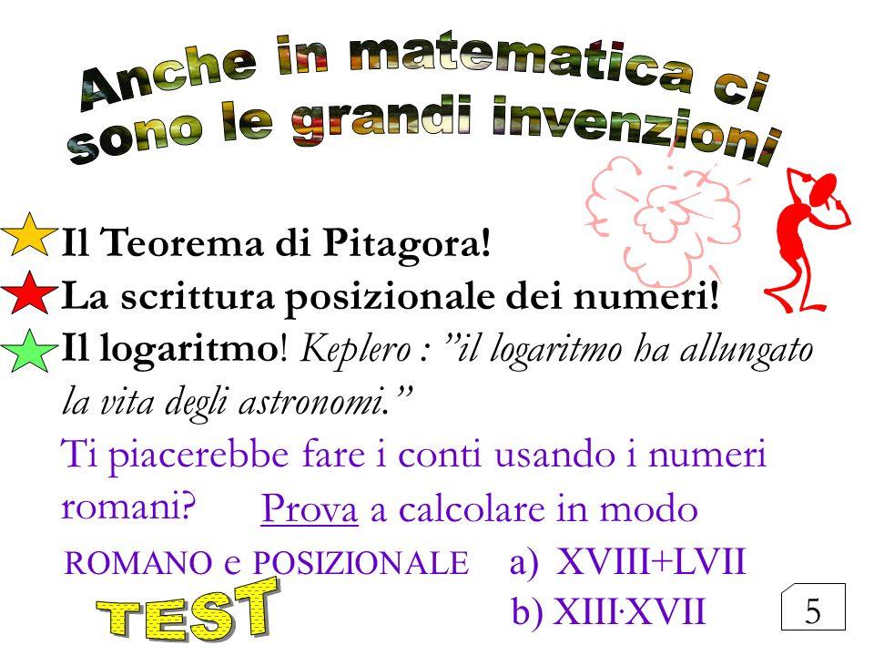 Il Teorema di Pitagora! La scrittura posizionale dei numeri! Il logaritmo! Keplero : il logaritmo ha allungato la vita degli astronomi. Ti piacerebbe