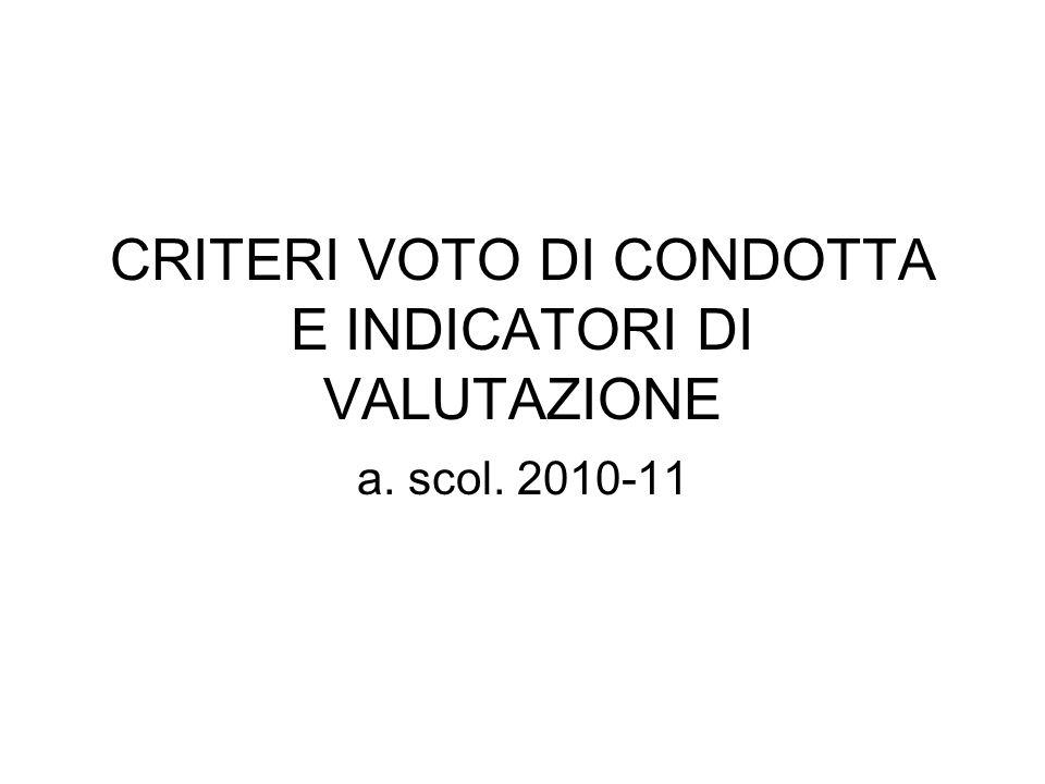 CRITERI VOTO DI CONDOTTA E INDICATORI DI VALUTAZIONE a. scol. 2010-11