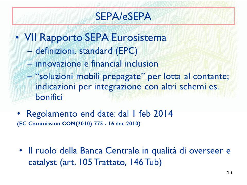 13 SEPA/eSEPA VII Rapporto SEPA Eurosistema –definizioni, standard (EPC) –innovazione e financial inclusion –soluzioni mobili prepagate per lotta al c
