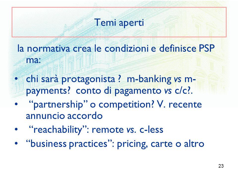 23 Temi aperti la normativa crea le condizioni e definisce PSP ma: chi sarà protagonista ? m-banking vs m- payments? conto di pagamento vs c/c?. partn