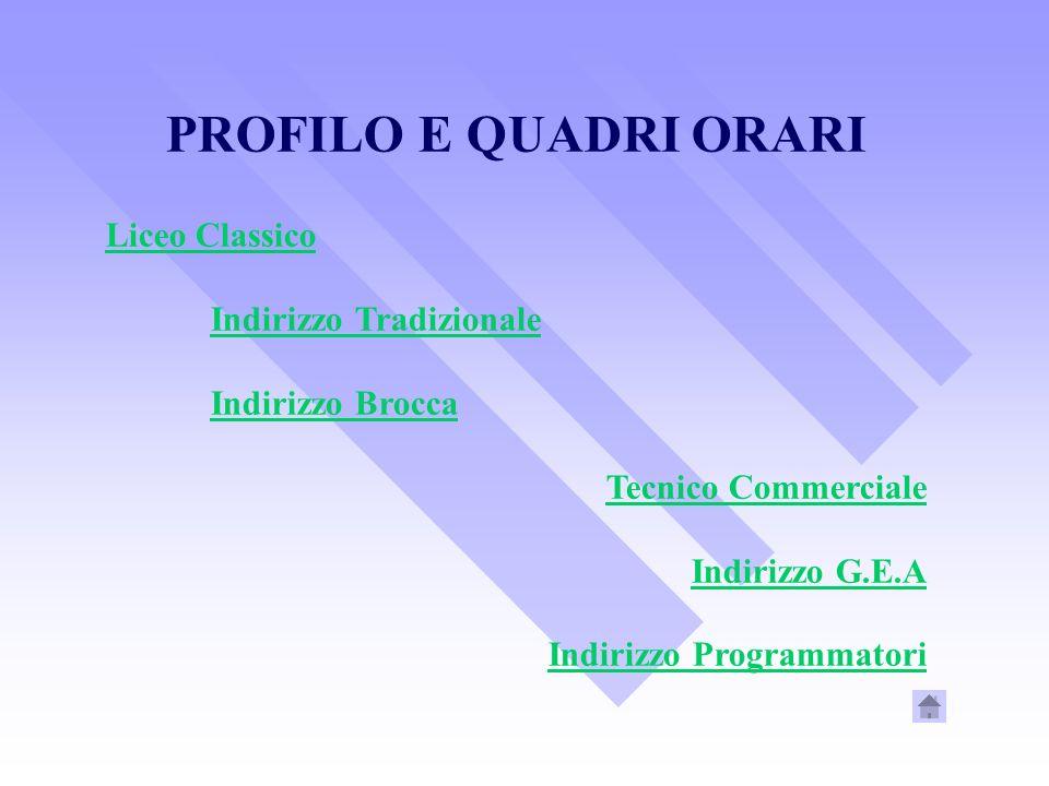 PROFILO E QUADRI ORARI Liceo Classico Indirizzo Tradizionale Indirizzo Brocca Tecnico Commerciale Indirizzo G.E.A Indirizzo Programmatori
