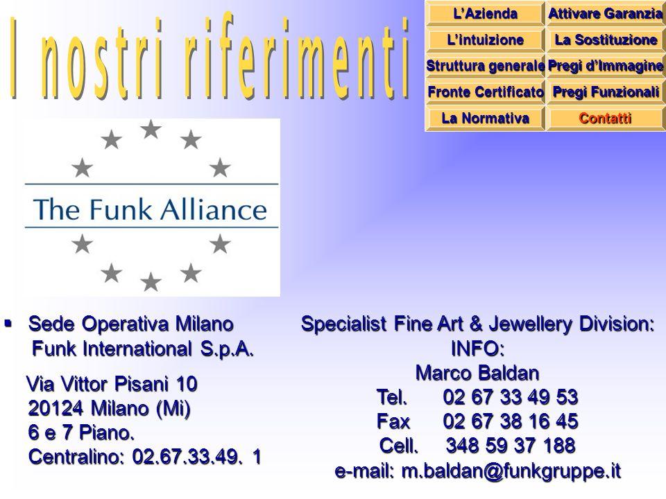 Sede Operativa Milano Funk International S.p.A. Via Vittor Pisani 10 20124 Milano (Mi) 6 e 7 Piano. Centralino: 02.67.33.49. 1 Specialist Fine Art & J