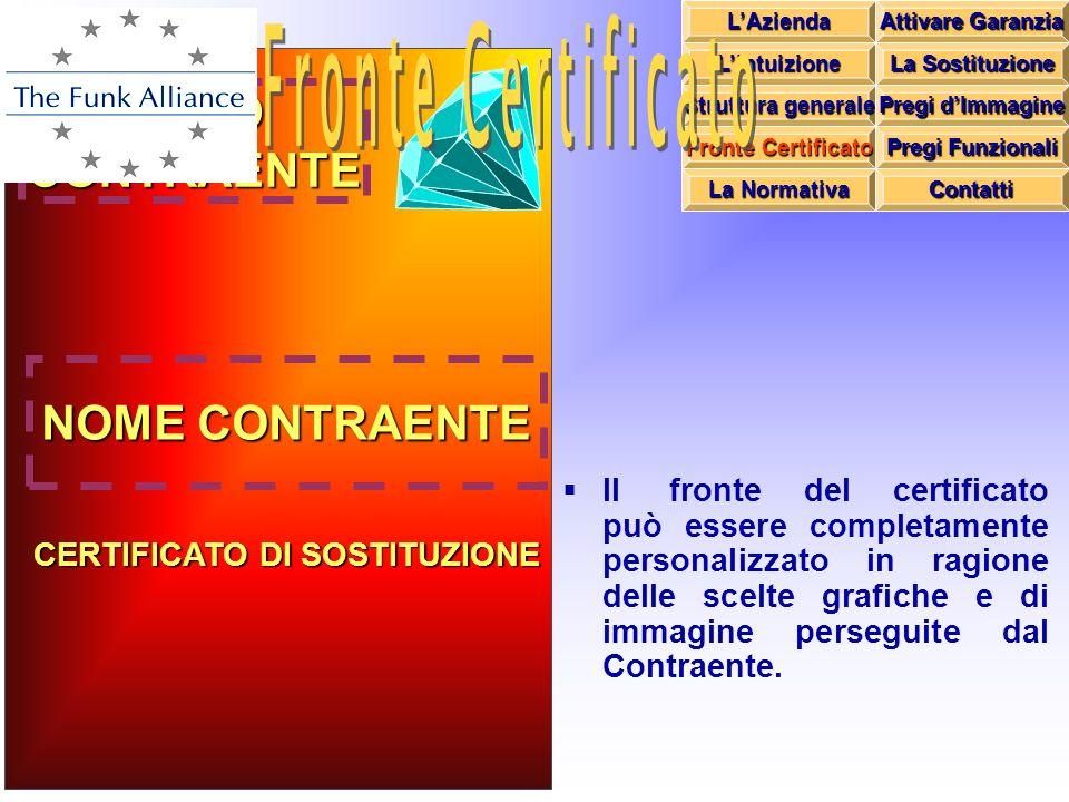 Il fronte del certificato può essere completamente personalizzato in ragione delle scelte grafiche e di immagine perseguite dal Contraente. LOGOCONTRA