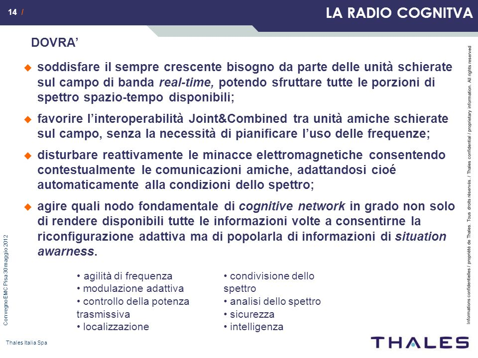 14 / Informations confidentielles / propriété de Thales. Tous droits réservés. / Thales confidential / proprietary information. All rights reserved Co