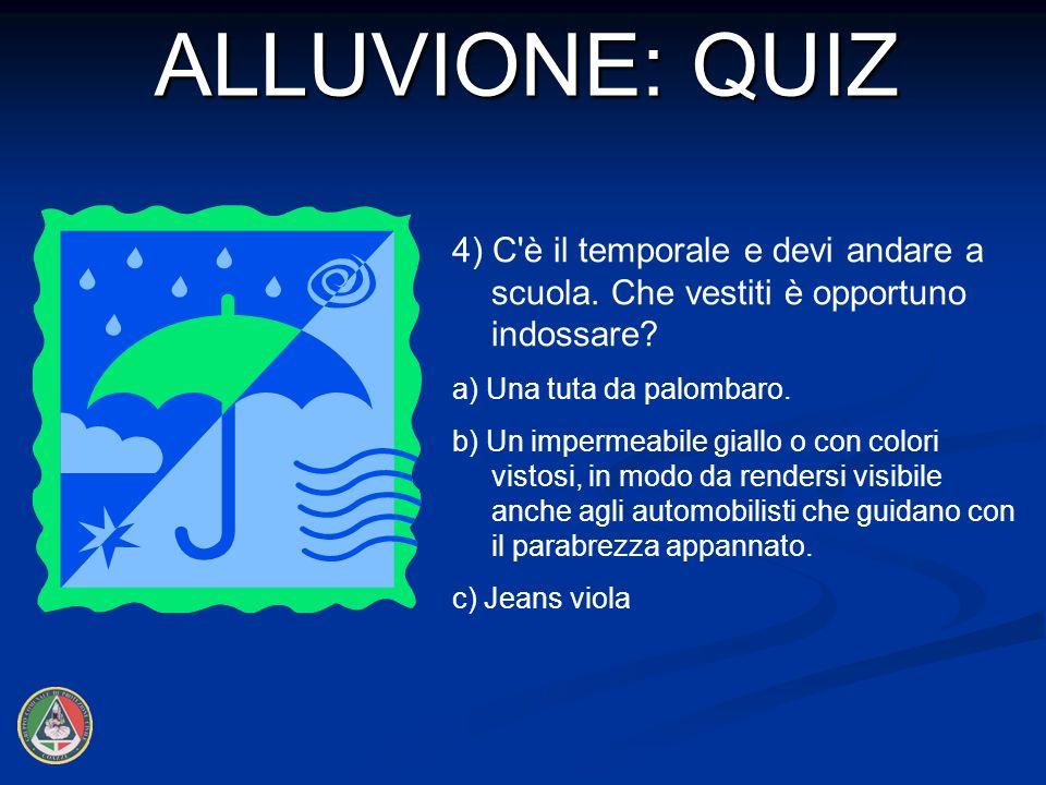 4) C è il temporale e devi andare a scuola.Che vestiti è opportuno indossare.