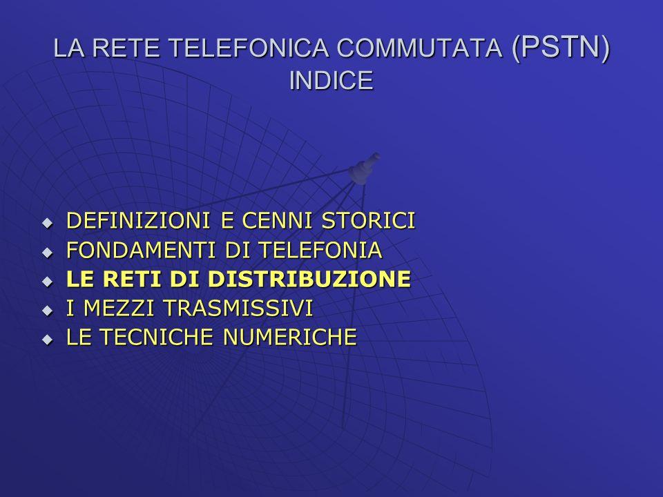 LA RETE TELEFONICA COMMUTATA (PSTN) INDICE DEFINIZIONI E CENNI STORICI DEFINIZIONI E CENNI STORICI FONDAMENTI DI TELEFONIA FONDAMENTI DI TELEFONIA LE