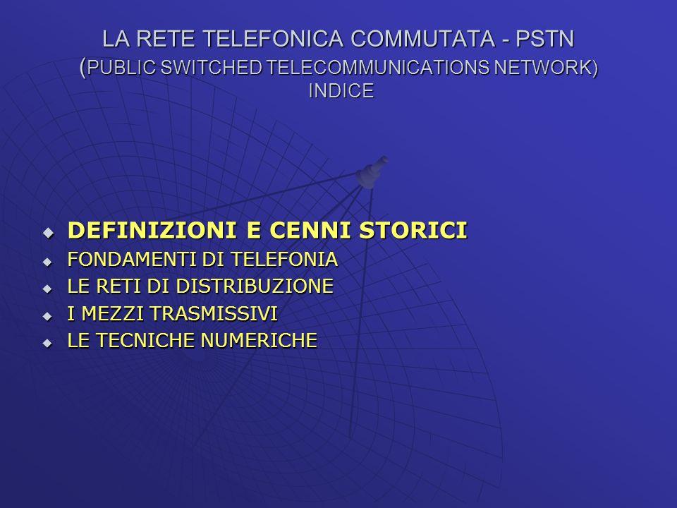 LA RETE TELEFONICA COMMUTATA - PSTN ( PUBLIC SWITCHED TELECOMMUNICATIONS NETWORK) INDICE DEFINIZIONI E CENNI STORICI DEFINIZIONI E CENNI STORICI FONDA