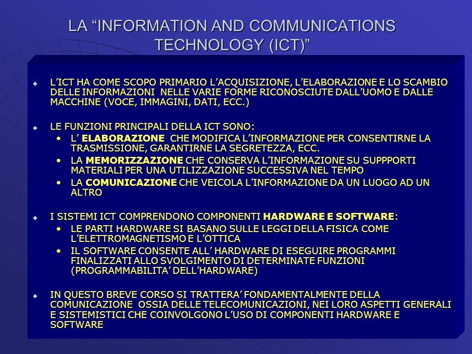 LA INFORMATION AND COMMUNICATIONS TECHNOLOGY (ICT) LICT HA COME SCOPO PRIMARIO LACQUISIZIONE, LELABORAZIONE E LO SCAMBIO DELLE INFORMAZIONI NELLE VARI