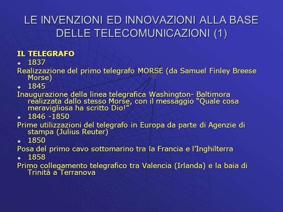 LE INVENZIONI ED INNOVAZIONI ALLA BASE DELLE TELECOMUNICAZIONI (1) IL TELEGRAFO 1837 1837 Realizzazione del primo telegrafo MORSE (da Samuel Finley Br