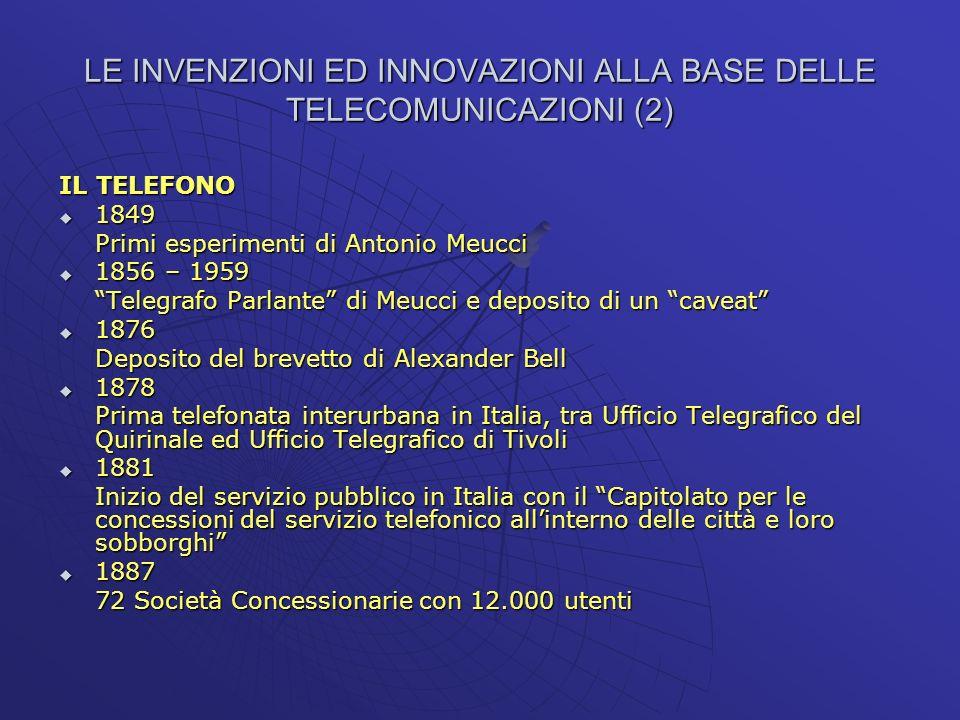 LE INVENZIONI ED INNOVAZIONI ALLA BASE DELLE TELECOMUNICAZIONI (2) IL TELEFONO 1849 1849 Primi esperimenti di Antonio Meucci 1856 – 1959 1856 – 1959 T