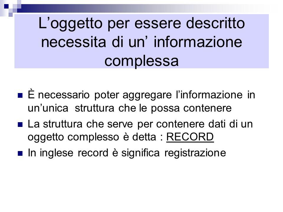 Loggetto per essere descritto necessita di un informazione complessa È necessario poter aggregare linformazione in ununica struttura che le possa cont