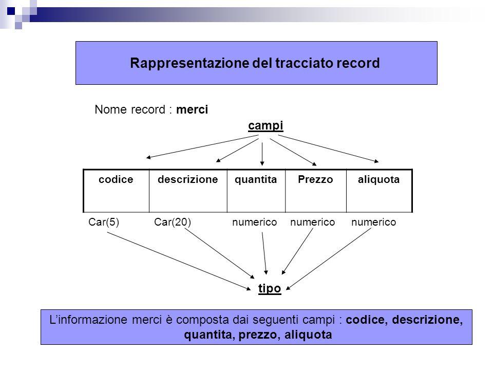 Rappresentazione del tracciato record codicedescrizionequantitaPrezzoaliquota Car(5)Car(20)numerico Nome record : merci campi tipo Linformazione merci