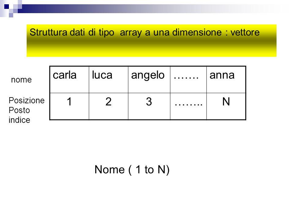 carlalucaangelo…….anna 123……..N nome Posizione Posto indice Struttura dati di tipo array a una dimensione : vettore Nome ( 1 to N)