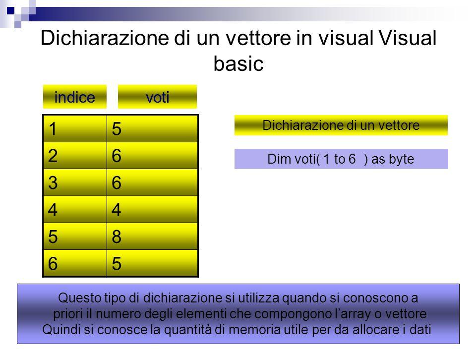 Dichiarazione di un vettore in visual Visual basic 15 26 36 44 58 65 indicevoti Dichiarazione di un vettore Dim voti( 1 to 6 ) as byte Questo tipo di