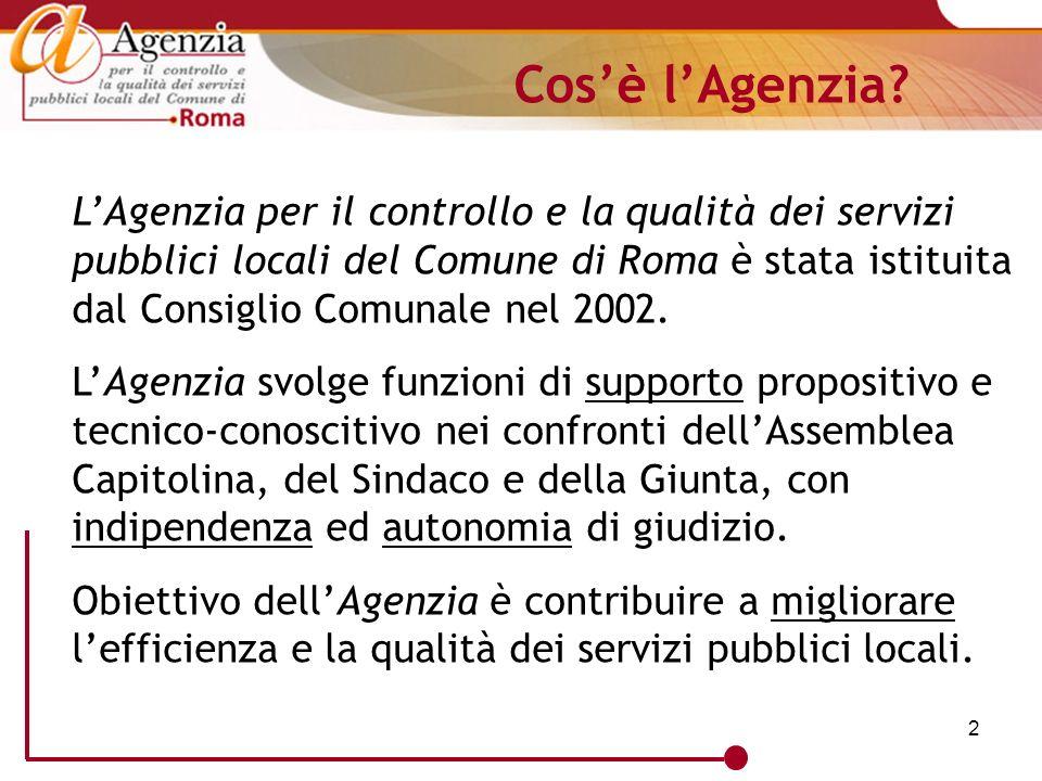 2 LAgenzia per il controllo e la qualità dei servizi pubblici locali del Comune di Roma è stata istituita dal Consiglio Comunale nel 2002. LAgenzia sv