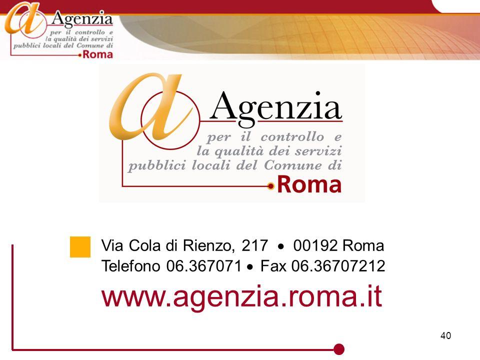 40 Via Cola di Rienzo, 217 00192 Roma Telefono 06.367071 Fax 06.36707212 www.agenzia.roma.it
