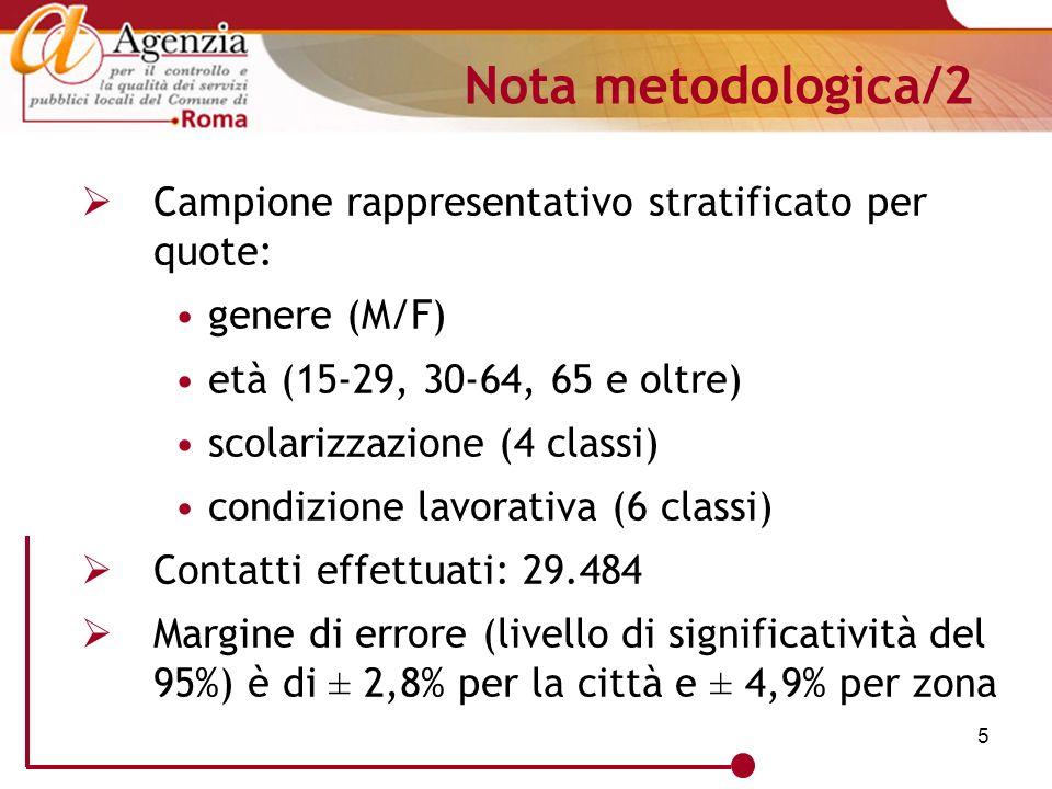 5 Nota metodologica/2 Campione rappresentativo stratificato per quote: genere (M/F) età (15-29, 30-64, 65 e oltre) scolarizzazione (4 classi) condizio