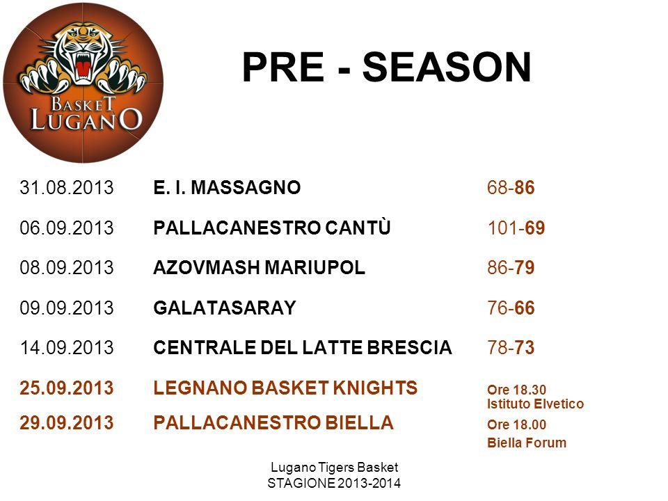 Lugano Tigers Basket STAGIONE 2013-2014 PRE - SEASON 31.08.2013E. I. MASSAGNO68-86 06.09.2013PALLACANESTRO CANTÙ101-69 08.09.2013AZOVMASH MARIUPOL86-7