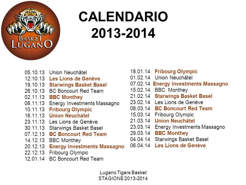 Lugano Tigers Basket STAGIONE 2013-2014 CALENDARIO 2013-2014 05.10.13Union Neuchâtel 12.10.13Les Lions de Genève 19.10.13Starwings Basket Basel 26.10.