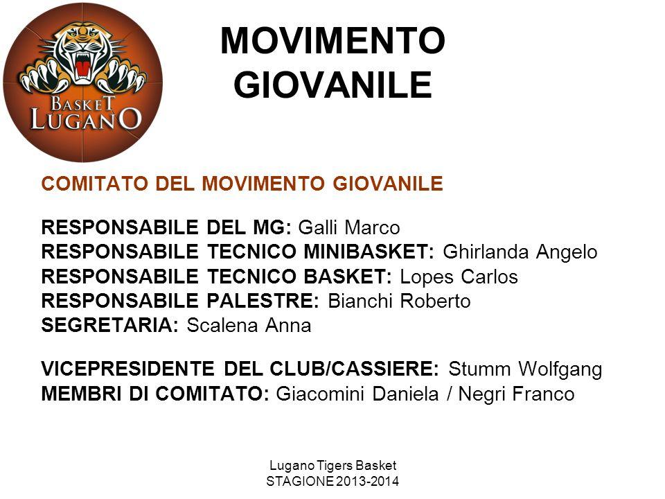 Lugano Tigers Basket STAGIONE 2013-2014 COMITATO DEL MOVIMENTO GIOVANILE RESPONSABILE DEL MG: Galli Marco RESPONSABILE TECNICO MINIBASKET: Ghirlanda A