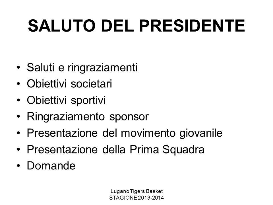 Lugano Tigers Basket STAGIONE 2013-2014 SALUTO DEL PRESIDENTE Saluti e ringraziamenti Obiettivi societari Obiettivi sportivi Ringraziamento sponsor Pr
