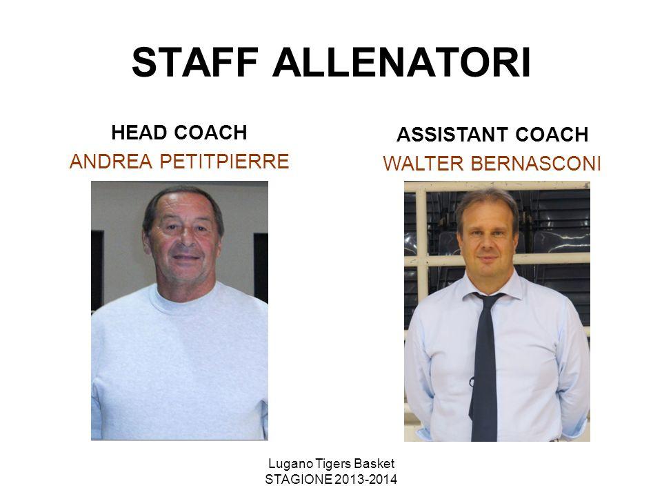 Lugano Tigers Basket STAGIONE 2013-2014 STAFF ALLENATORI HEAD COACH ANDREA PETITPIERRE ASSISTANT COACH WALTER BERNASCONI
