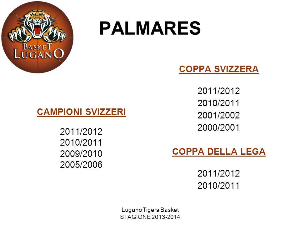 Lugano Tigers Basket STAGIONE 2013-2014 PALMARES CAMPIONI SVIZZERI 2011/2012 2010/2011 2009/2010 2005/2006 COPPA SVIZZERA 2011/2012 2010/2011 2001/200