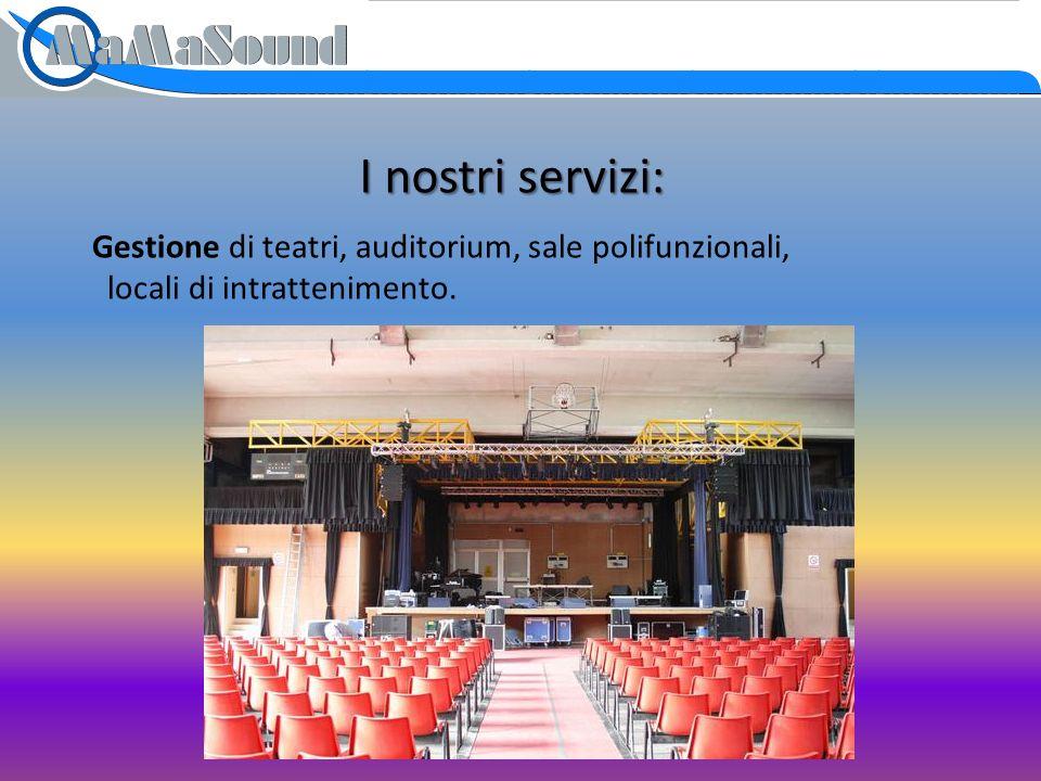 I nostri servizi: Gestione di teatri, auditorium, sale polifunzionali, locali di intrattenimento.