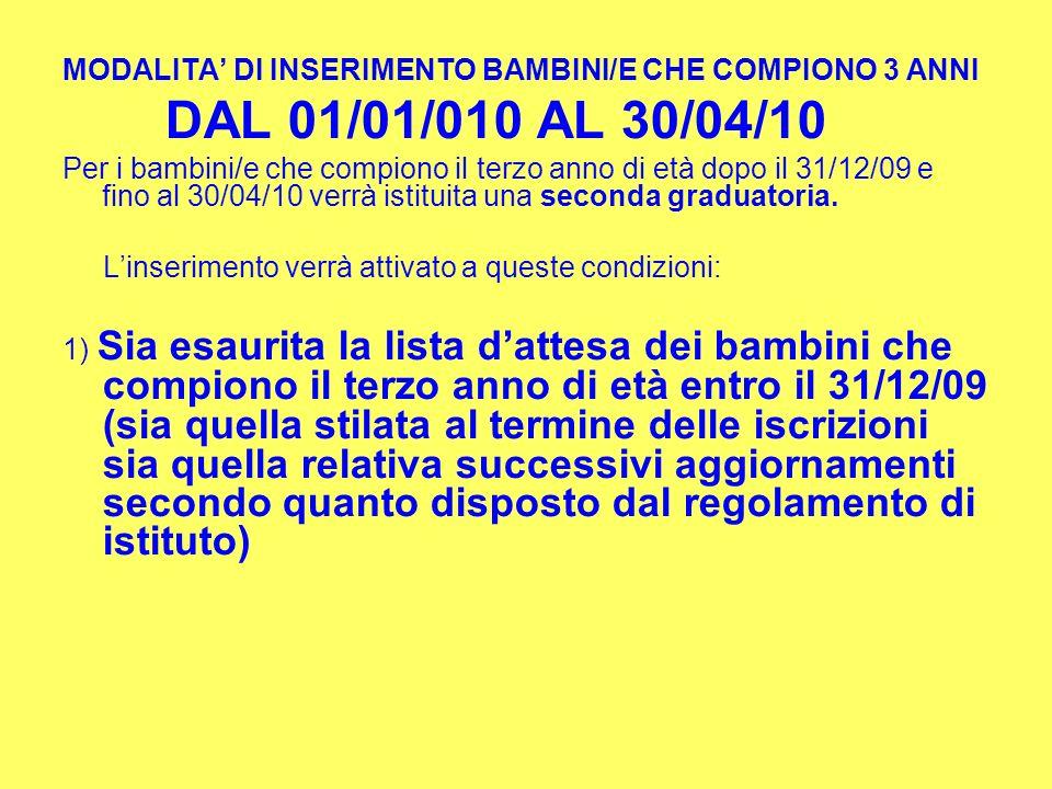 MODALITA DI INSERIMENTO BAMBINI/E CHE COMPIONO 3 ANNI DAL 01/01/010 AL 30/04/10 Per i bambini/e che compiono il terzo anno di età dopo il 31/12/09 e f