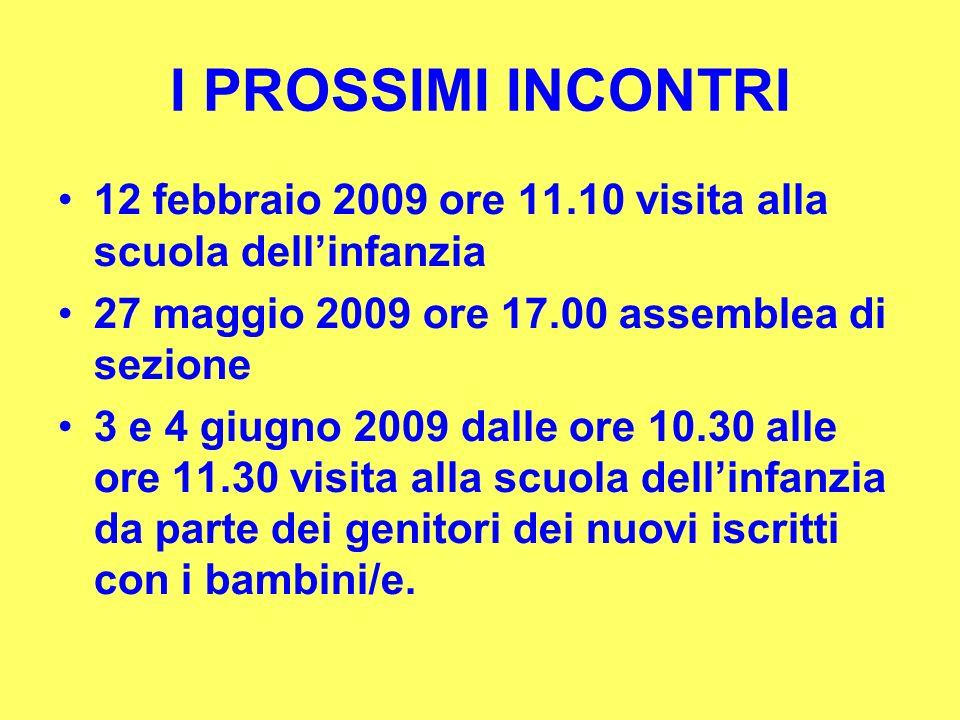 I PROSSIMI INCONTRI 12 febbraio 2009 ore 11.10 visita alla scuola dellinfanzia 27 maggio 2009 ore 17.00 assemblea di sezione 3 e 4 giugno 2009 dalle o
