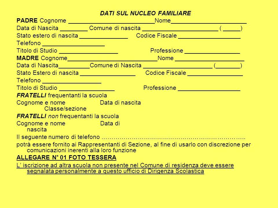 DATI SUL NUCLEO FAMILIARE PADRE Cognome _________________________Nome______________________ Data di Nascita ________ Comune di nascita _______________
