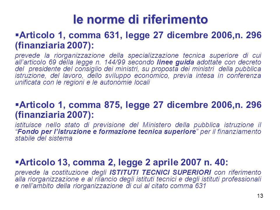 13 le norme di riferimento Articolo 1, comma 631, legge 27 dicembre 2006,n. 296 (finanziaria 2007): prevede la riorganizzazione della specializzazione
