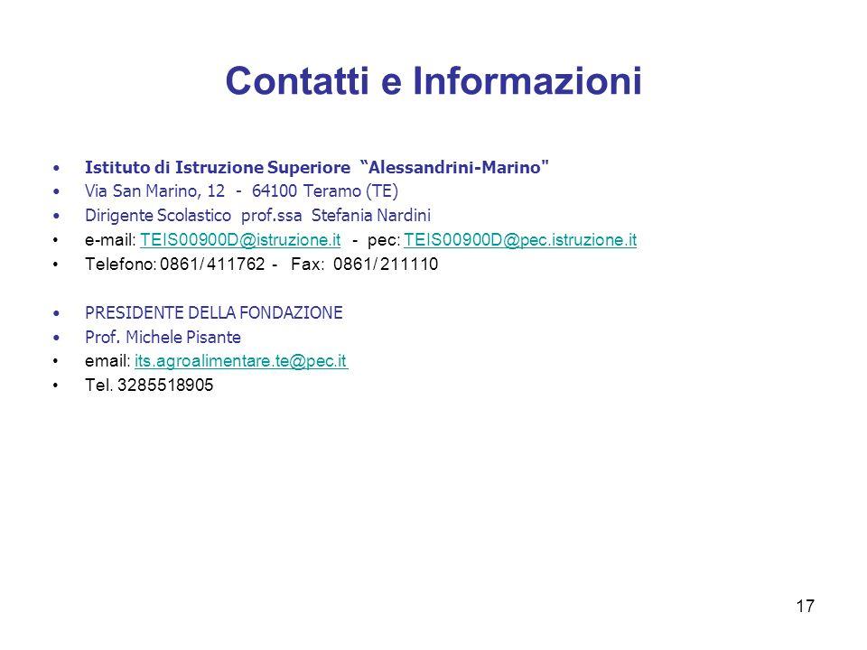 Contatti e Informazioni 17 Istituto di Istruzione Superiore Alessandrini-Marino