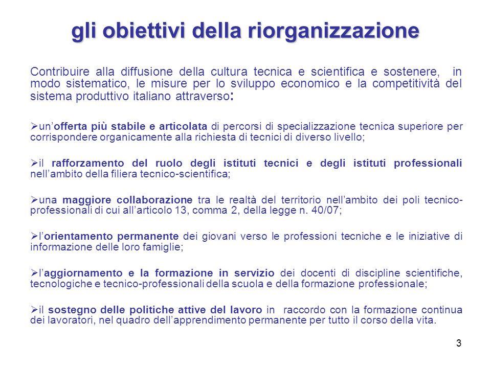 3 gli obiettivi della riorganizzazione Contribuire alla diffusione della cultura tecnica e scientifica e sostenere, in modo sistematico, le misure per
