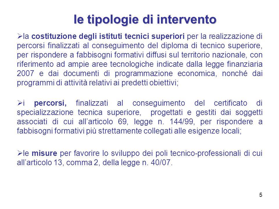 5 la costituzione degli istituti tecnici superiori per la realizzazione di percorsi finalizzati al conseguimento del diploma di tecnico superiore, per