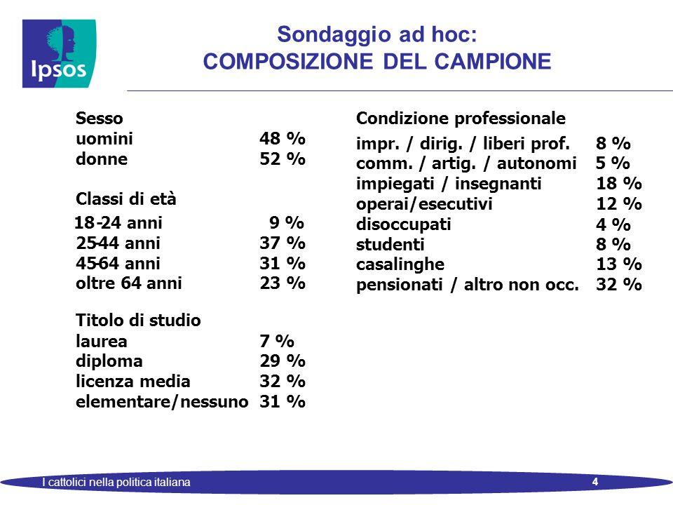 4 I cattolici nella politica italiana Sondaggio ad hoc: COMPOSIZIONE DEL CAMPIONE Sesso Condizione professionale uomini 48 % impr. / dirig. / liberi p